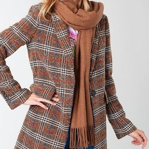 Zara Brown Plaid Check Coat Winter Jacket Casual